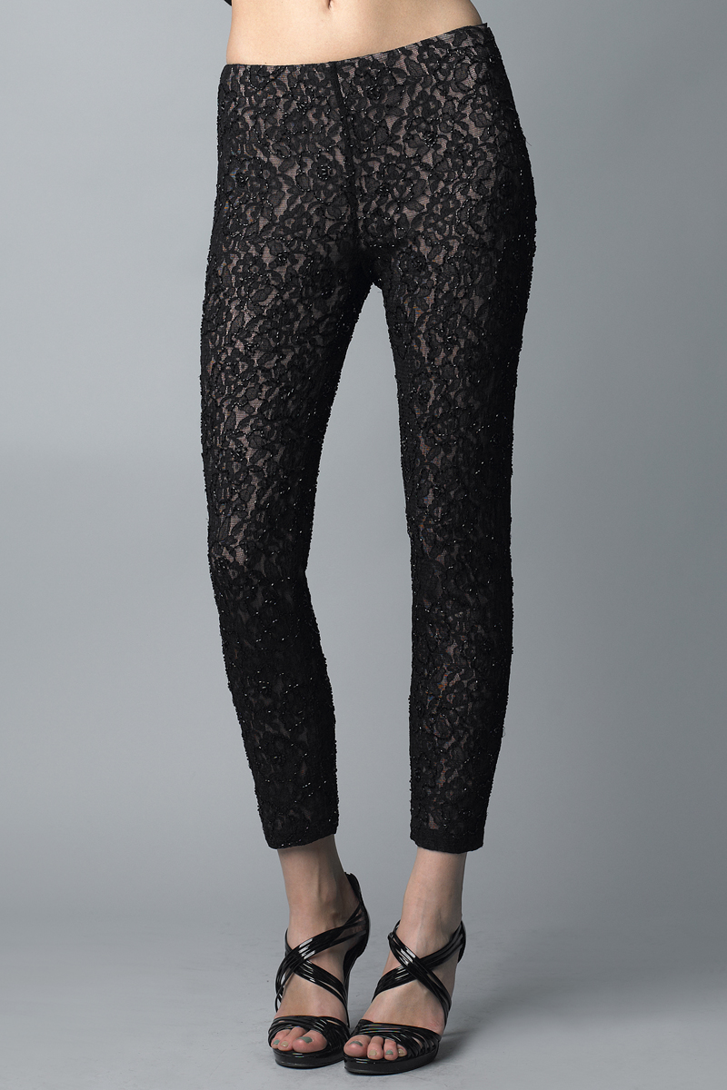 P6197 | Basix Black Label lace beaded capri pant |