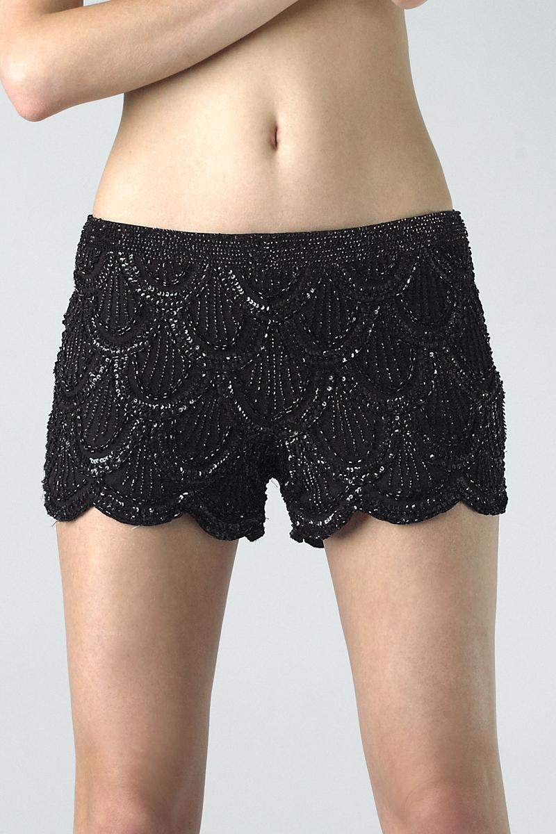 SH4114   Basix Black Label Scalloped Silk Shorts  