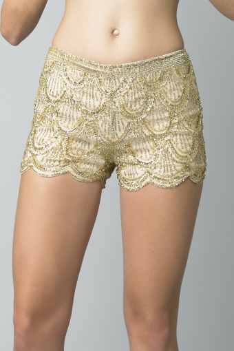Basix Black Label Scalloped Silk Shorts