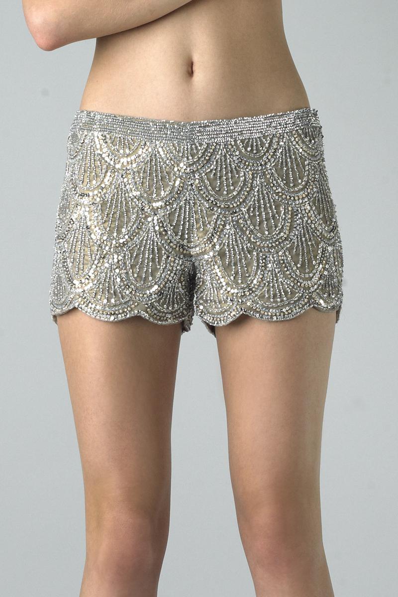 SH4114 | Basix Black Label Scalloped Silk Shorts |
