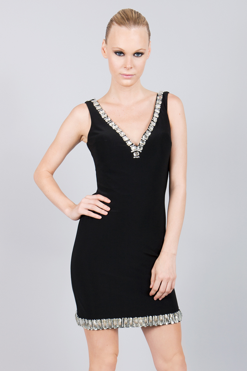 D5288A | basix black label v neck cocktail dress |