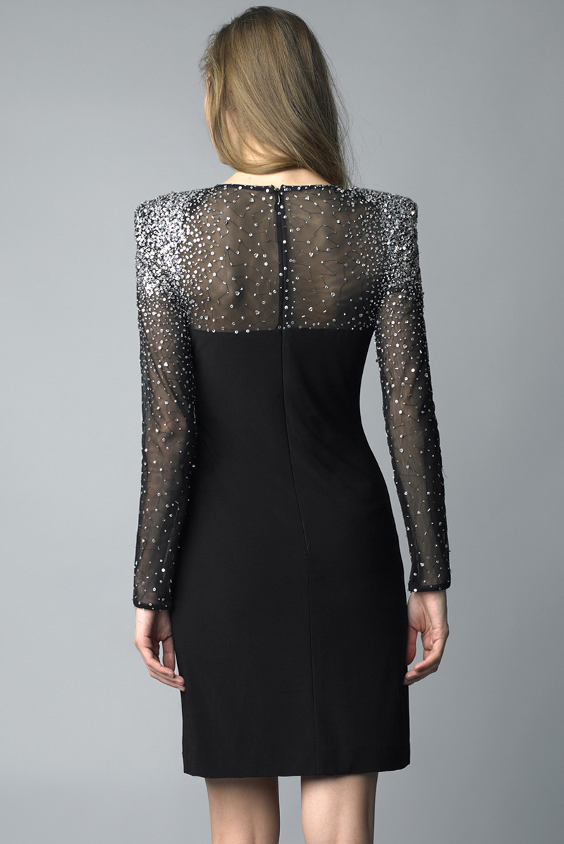 D5970A | Basix blacklabel half sleeve cocktail dress with sequins on shoulder and arms |