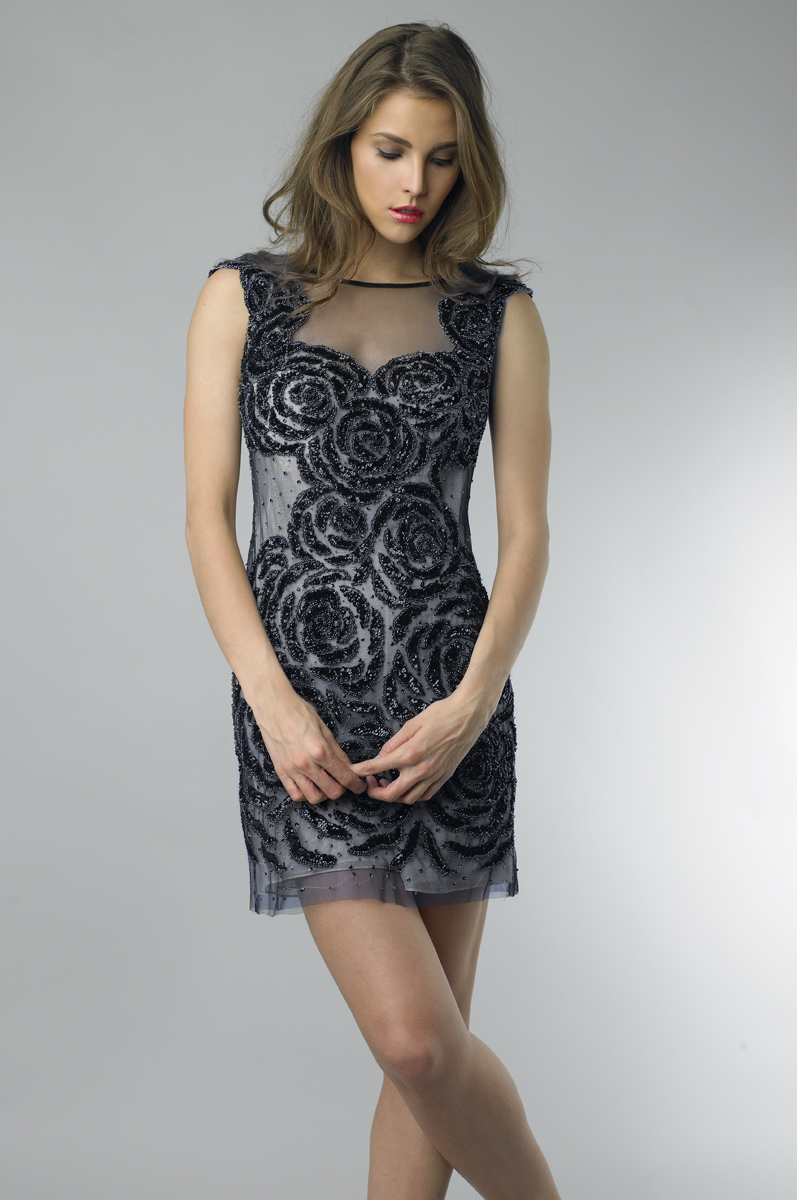 D6643A | basix black label sequined nude cocktail dress |
