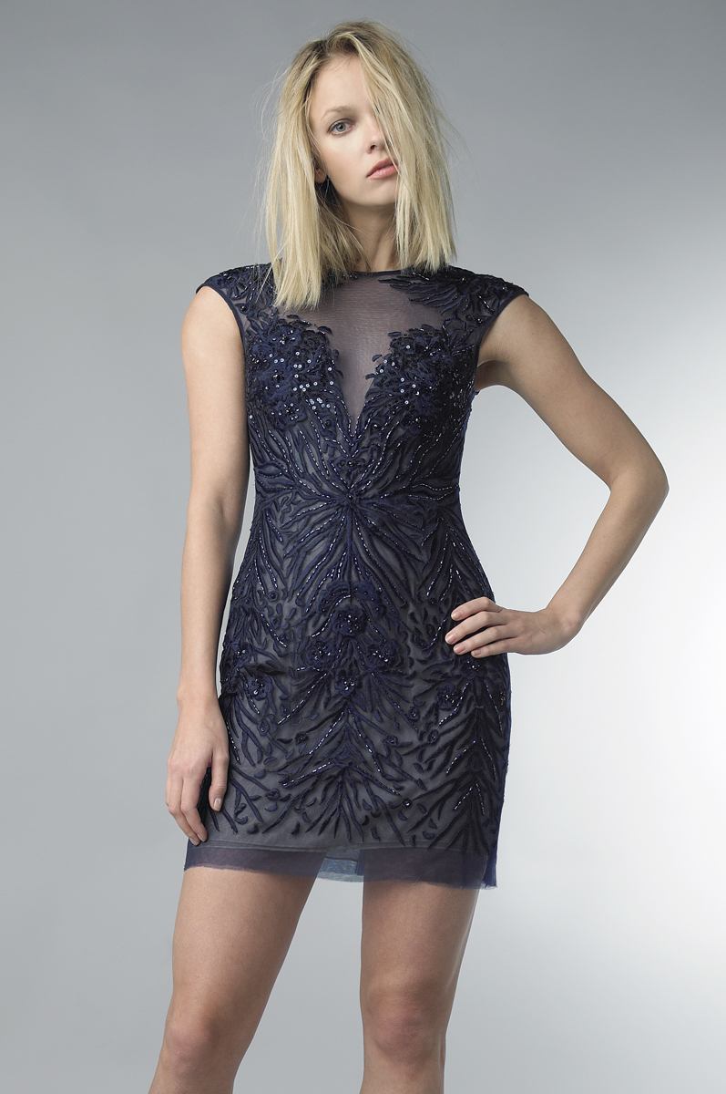 D6786A | Embroidered cocktail dress by basix II |