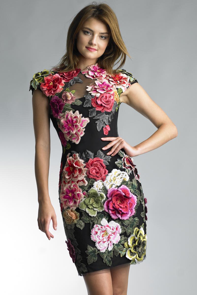 D7727A | Floral Applicque dress by basix black label |