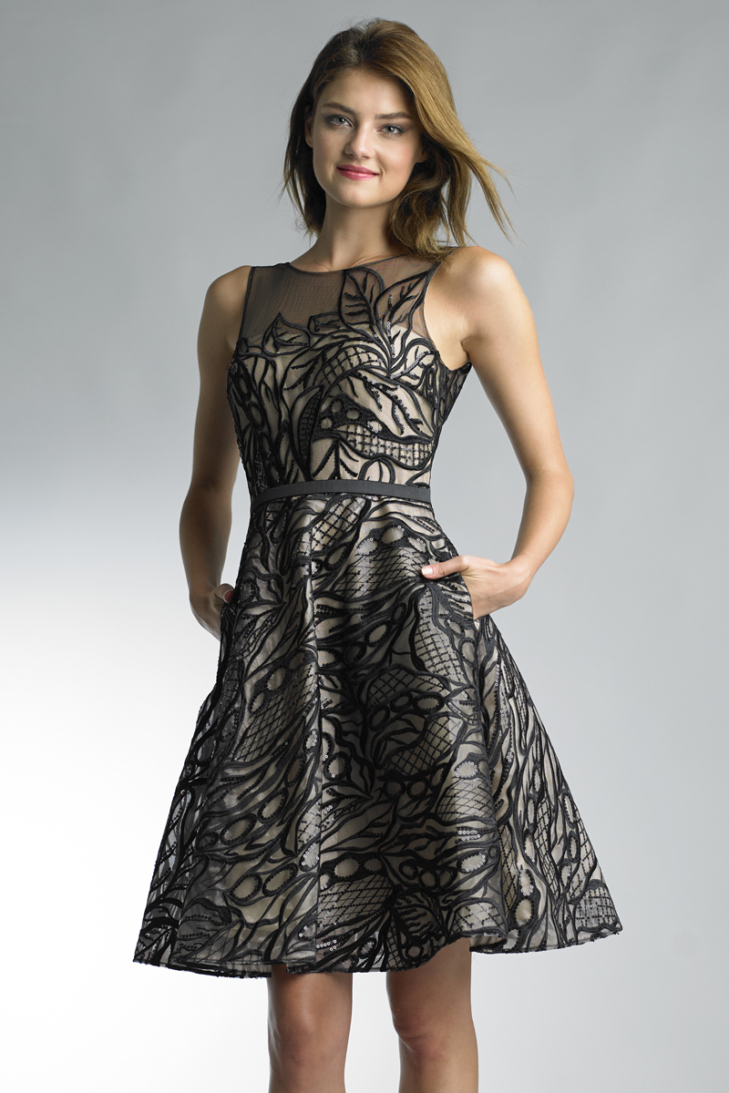 D7992A | Embroidred cocktail dress by basix black label |