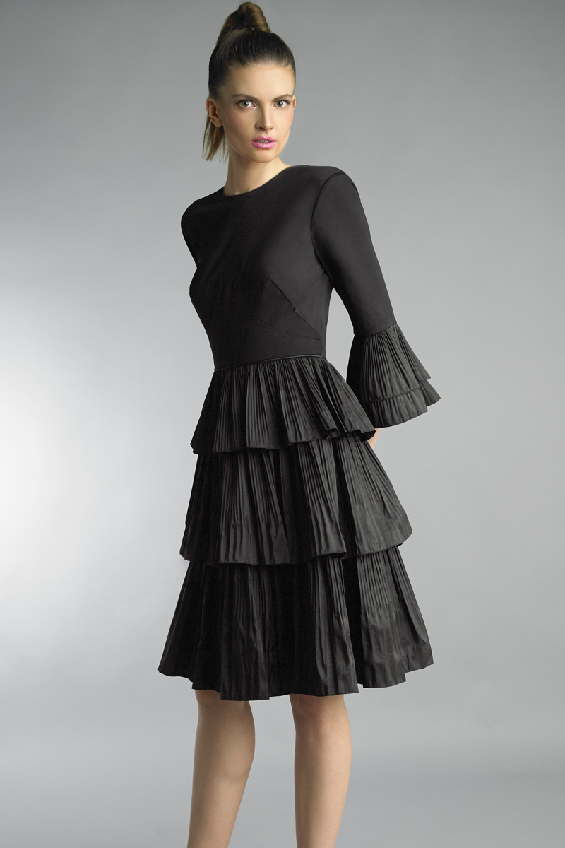 D9761A | Basix Pleated Tiered Fit and Flare Dress |