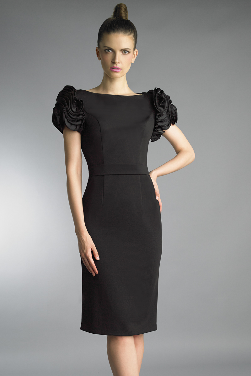 D9776A | Basix Black Label Rosette Sleeve Cocktail Dress |