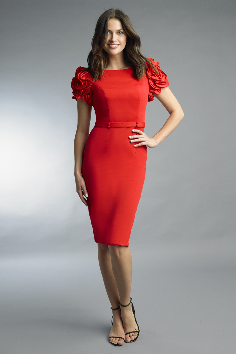 D9776A | Basix Black Label Rosette Sleeve Cocktail Dress |