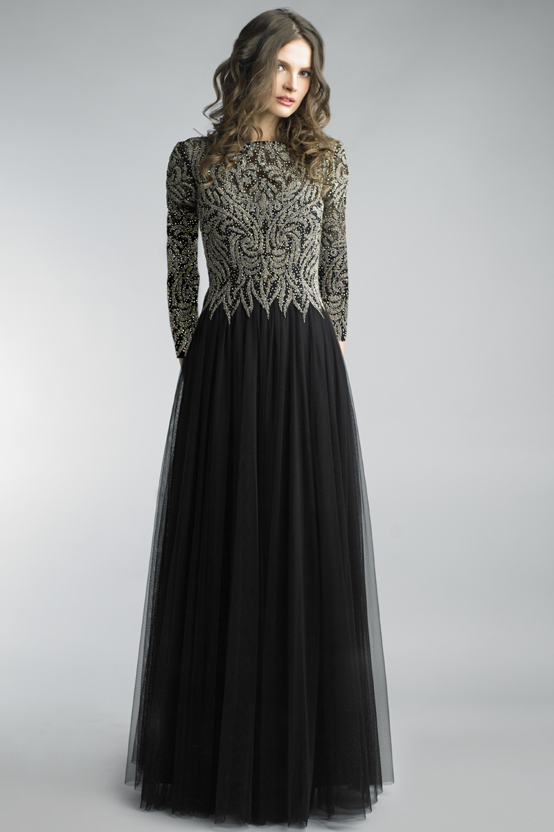 D1183LR | Basix black label long sleeve embroidered beaded gown |
