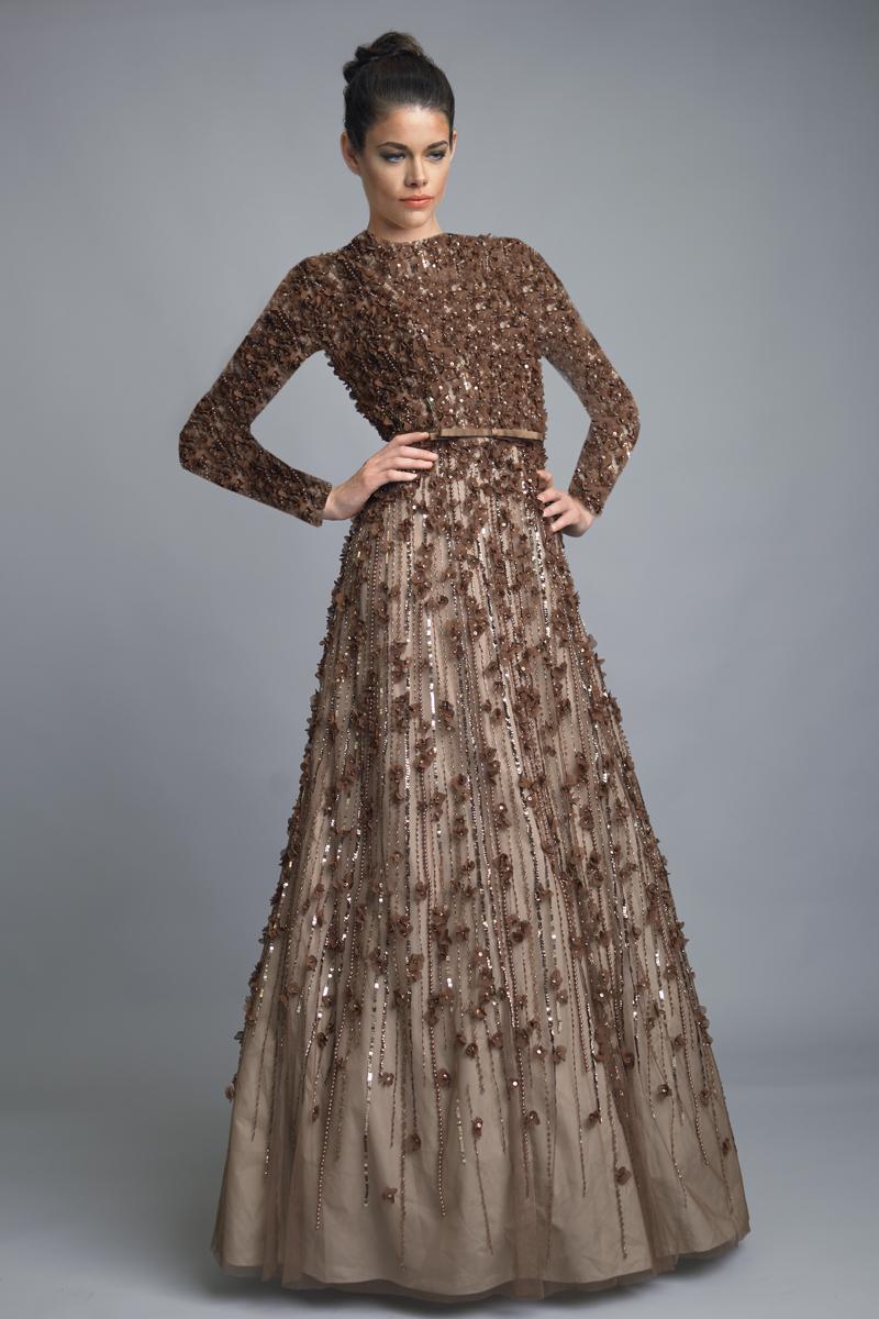 D1193LR   Basix black label high neck seamless floral motif ballgown  