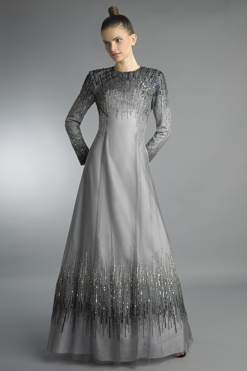 D1198LR | Basix black label high neck multi color beaded ballgown |