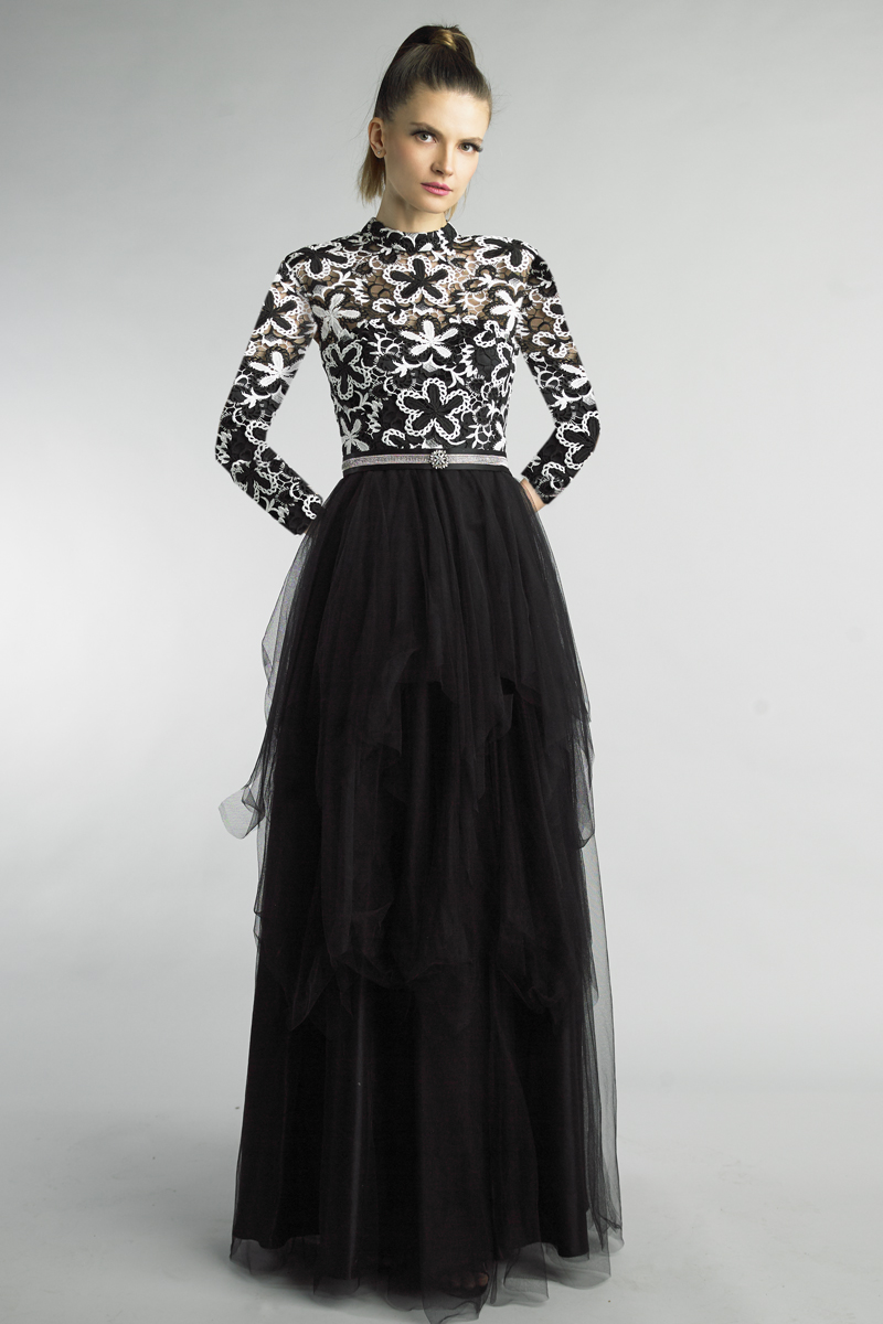 D1199LR | Basix black label black and white orchid long sleeve gown |