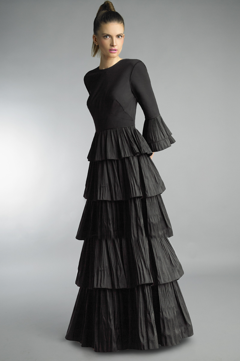 D1200LR | Basix black label bell sleeve high neck multi tier crushed taffeta dress |