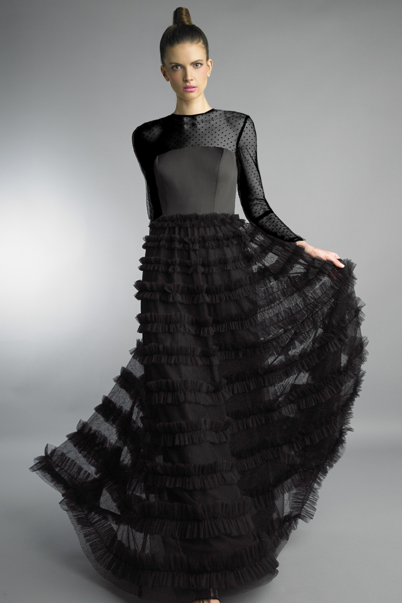 D1201LR | Basix black label multi layer fabric with polka dot lined top over silver lining and  multi panel skirt |