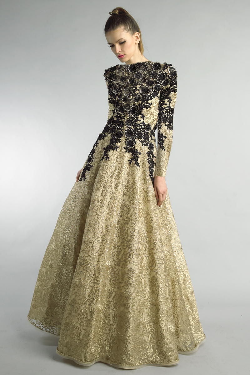 D1207LR | Basix black label floral bouquet inspired gown over champagne lace skirt |