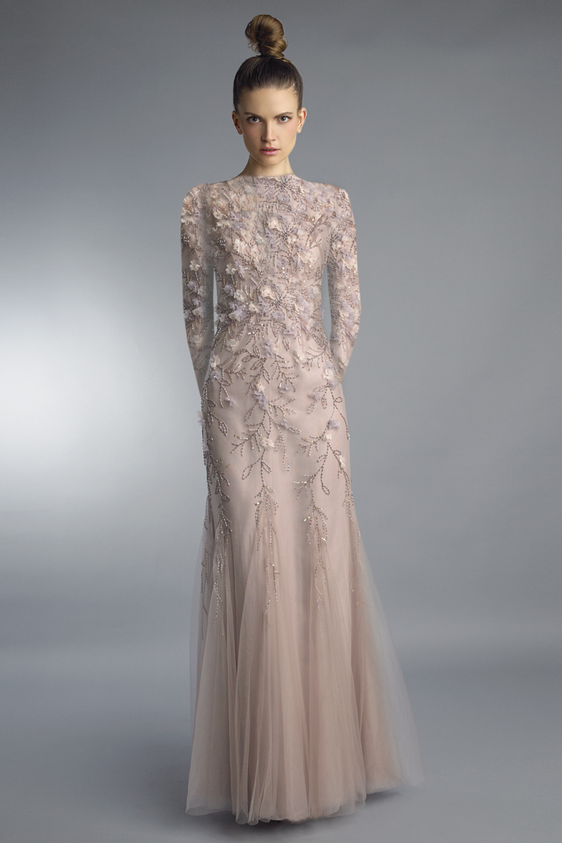 D1212LR | Basix black label high neck multi floral beaded long sleeve dress |
