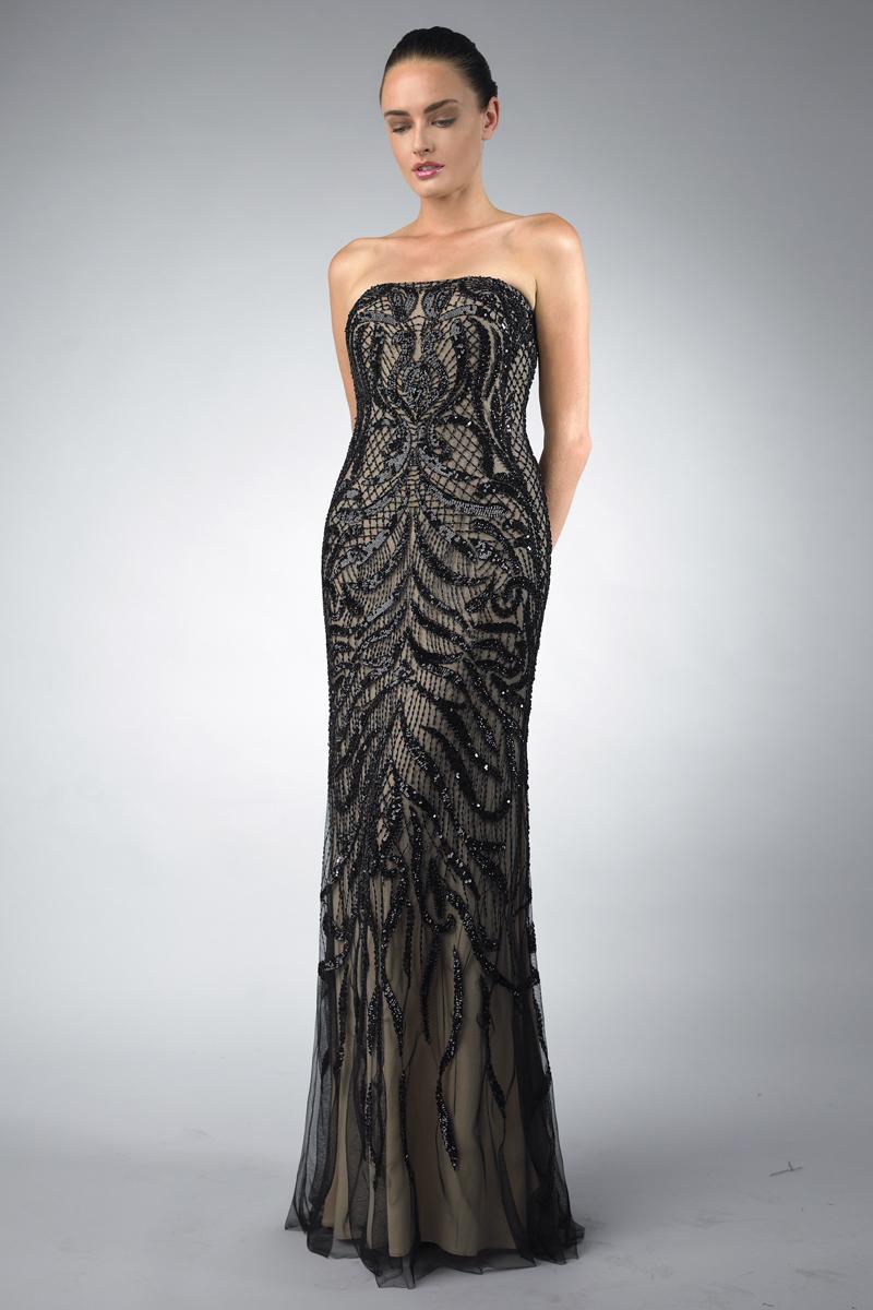 D1105L   Basix Black Label spaghetti strap evening dress  