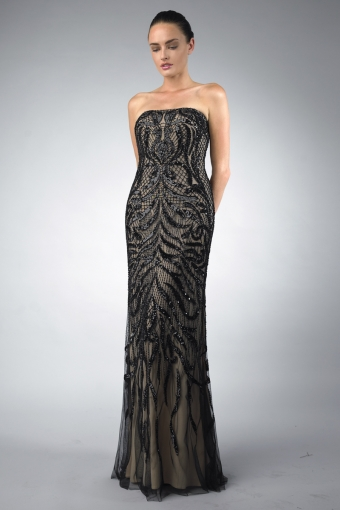 Basix Black Label spaghetti strap evening dress