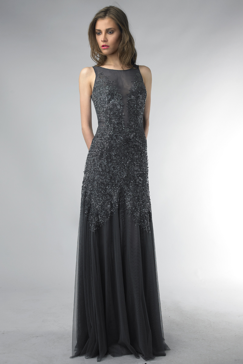 D5974L | basix black label sequin evening dress |