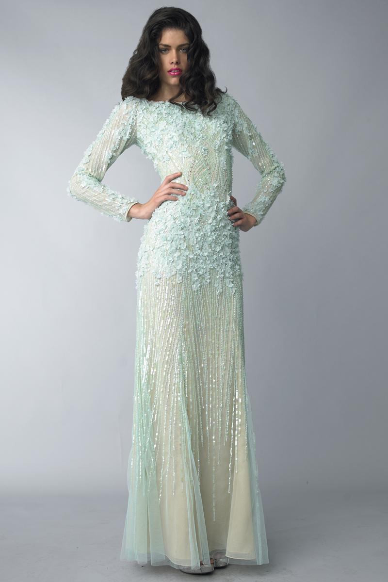 D6045L | Basix Black Label Laser cut floral gown |
