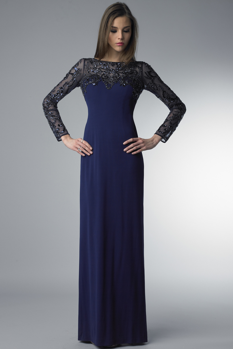 D6333L | Basix long sleeve beaded gown |