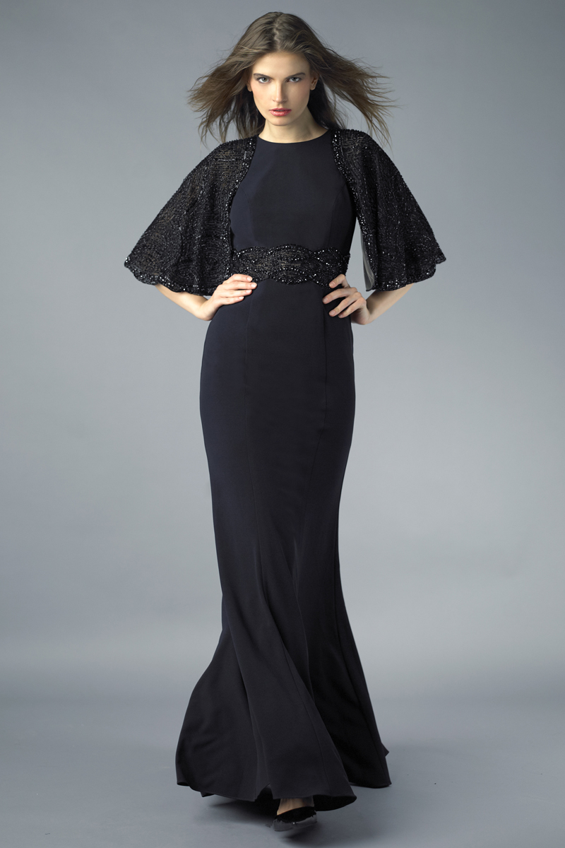 D7426L | Basix black label capelet gown |