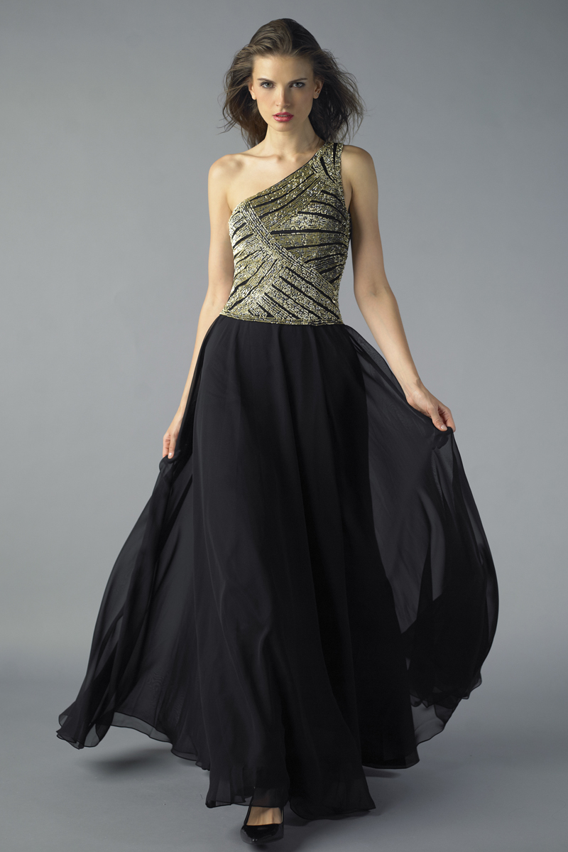 D7473L | Basix Black Label One Shoulder Gown |