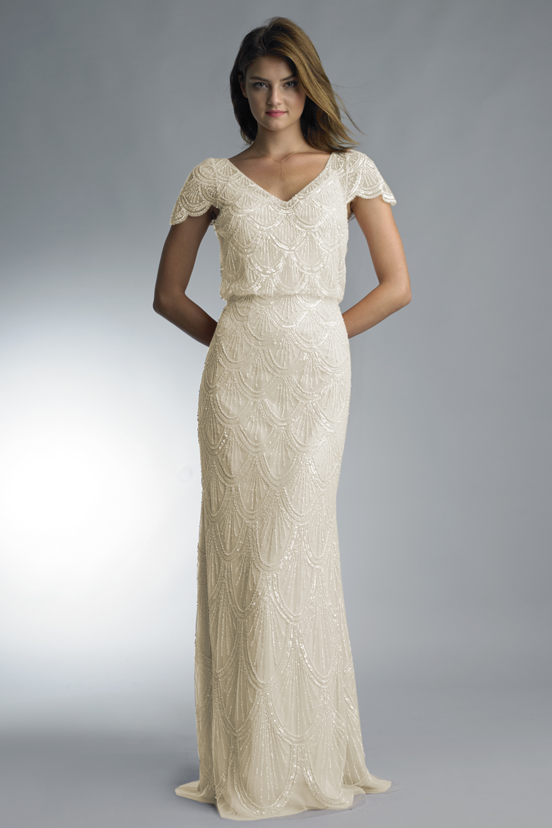 D7889L | Scalloped cap sleeve v neck gown by Basix Black Label |