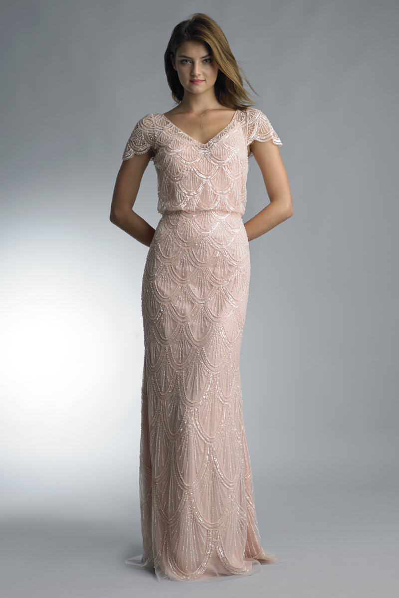 D7889L   Scalloped cap sleeve v neck gown by Basix Black Label  