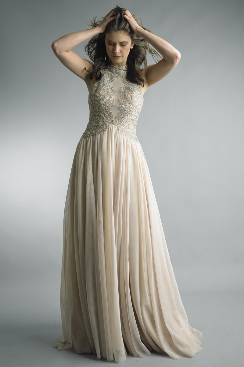 D8109L | Beaded sheer tulle gown by basix black label |