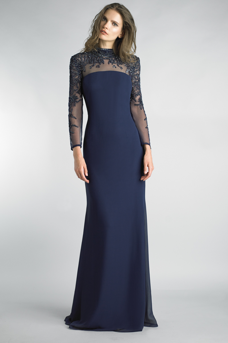 D8334L | Basix Beaded Mock Neck Long Sleeve Sheer Yoke Gown |