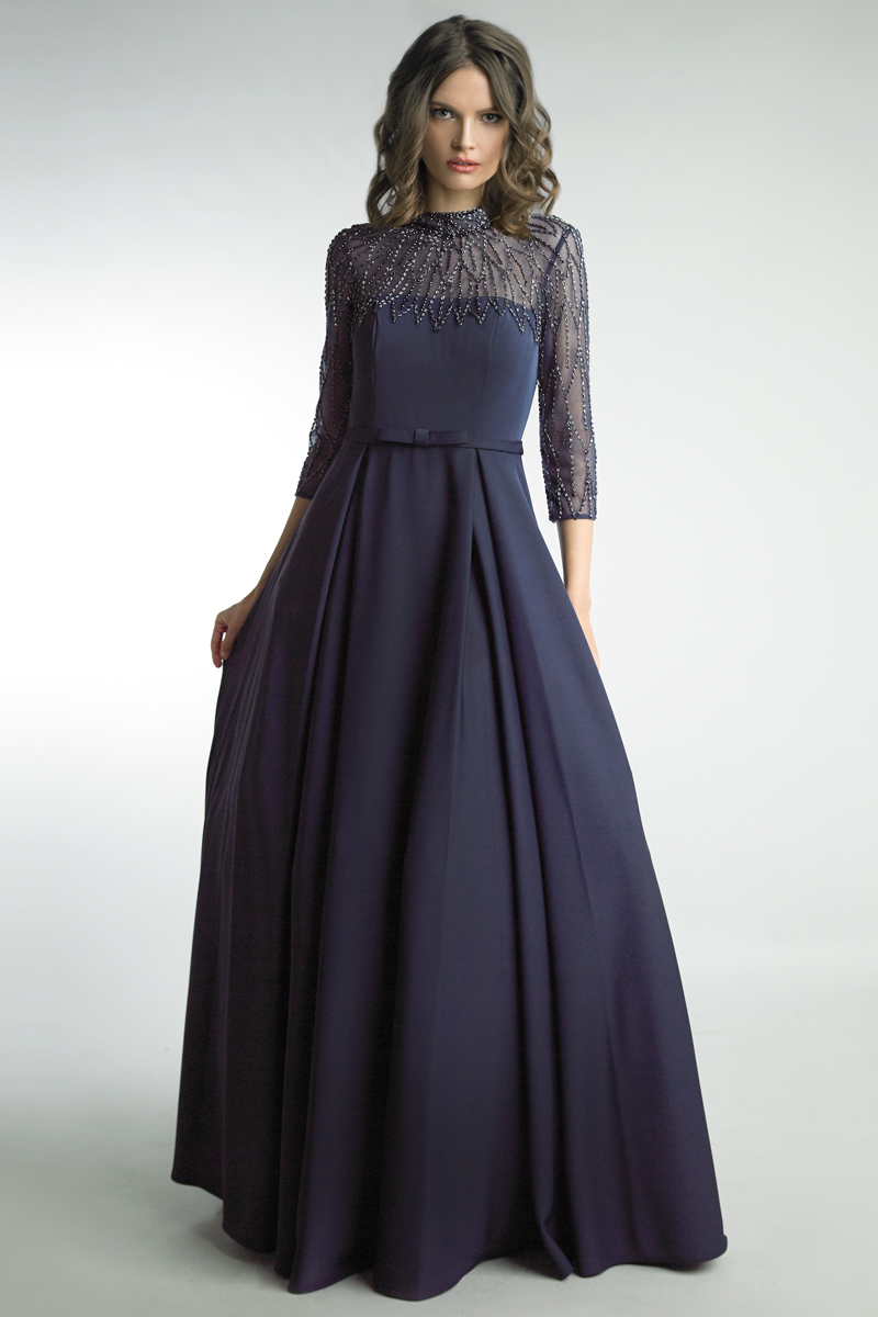 D8381L | Basix Black Label Long Sleeve beaded gown |