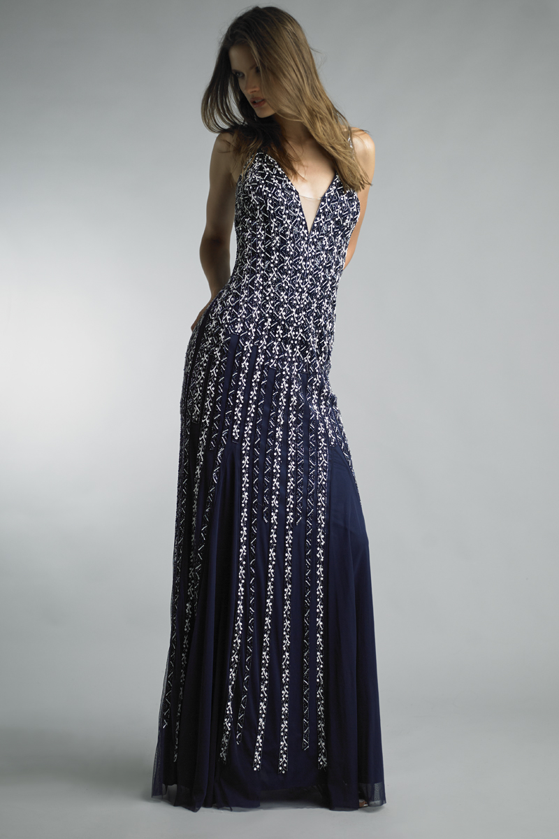 D8426L | Basix black label spaghetti strap gown |