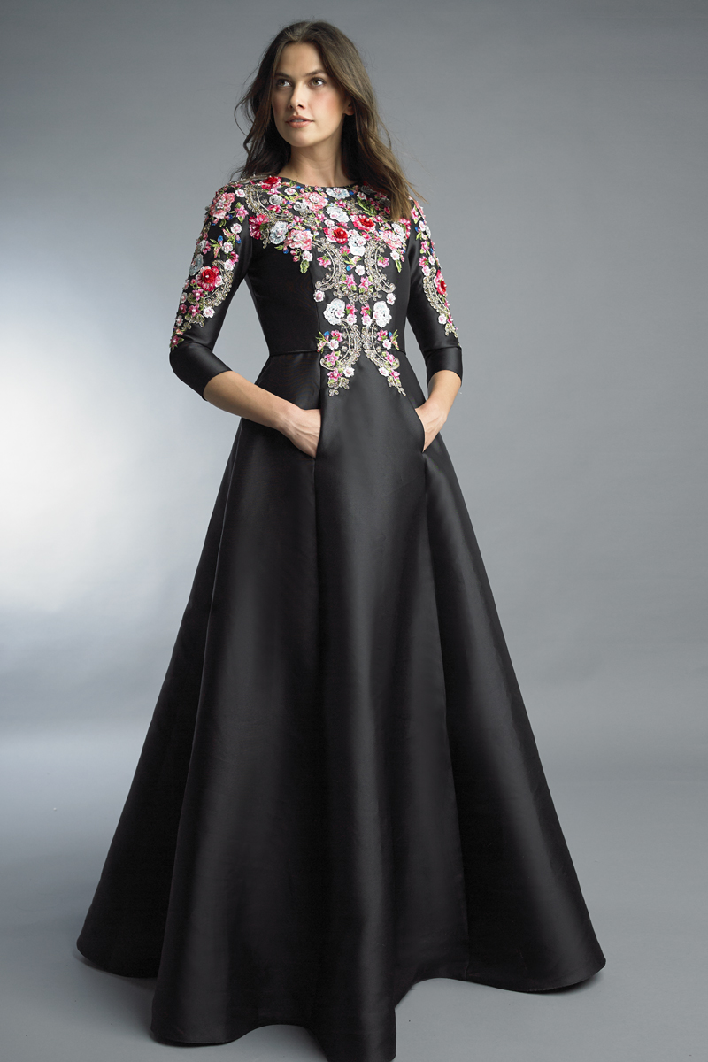 D8527LR | Basix Black label three quarter sleeve floral motif gown with pockets |