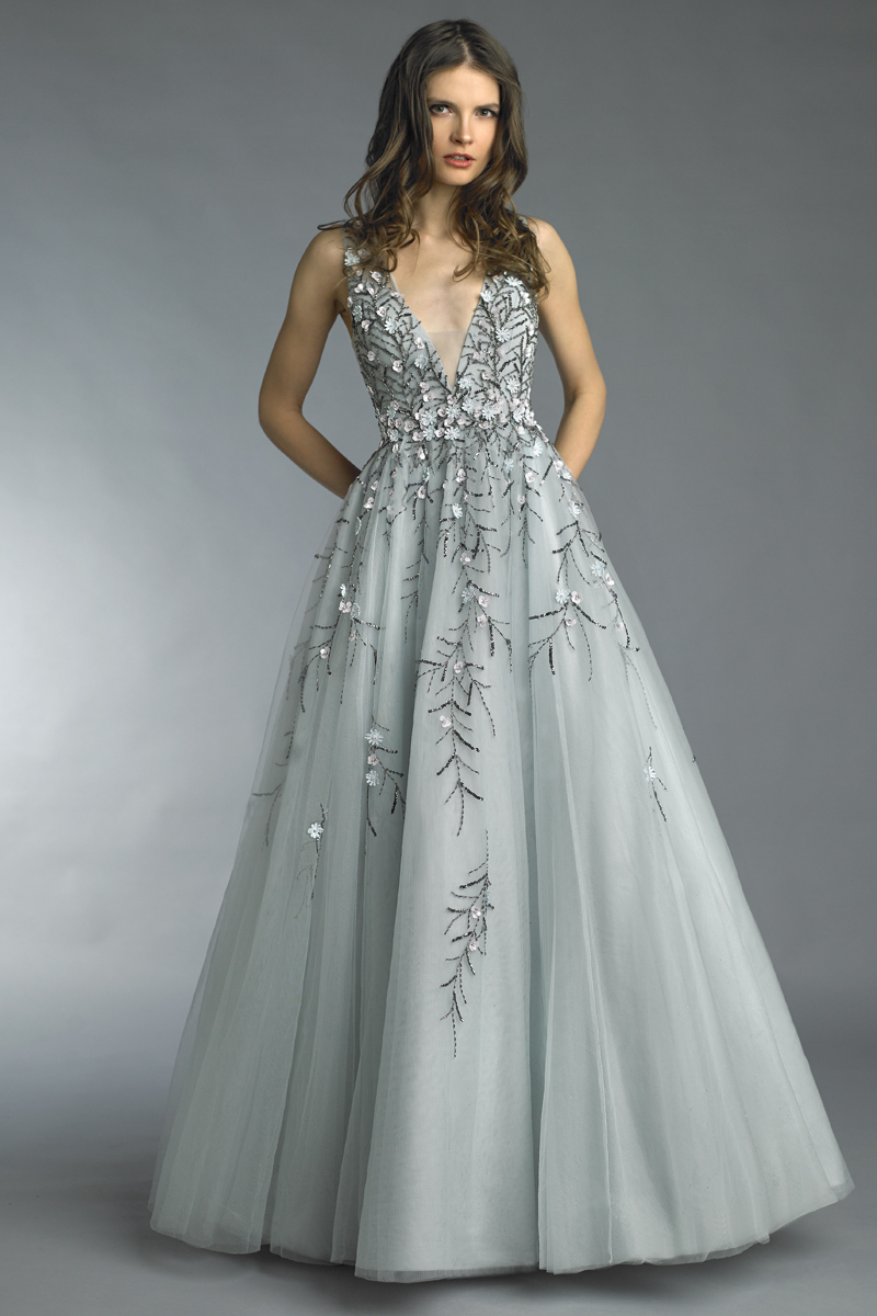 D8716L | V neck floral applique gown |