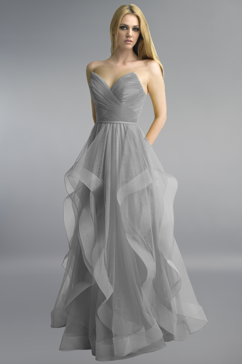 D8819L | Corseted Tulle A Line Gown with Cascading Skirt by Basix |
