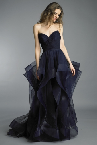 Basix Black Label corseted tulle gown w cascading skirt
