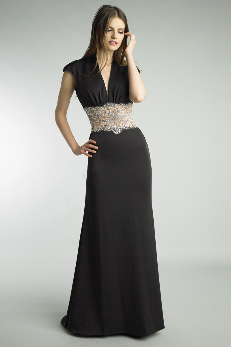 D8893L | basix black label crystal emellished sleeveless gown |