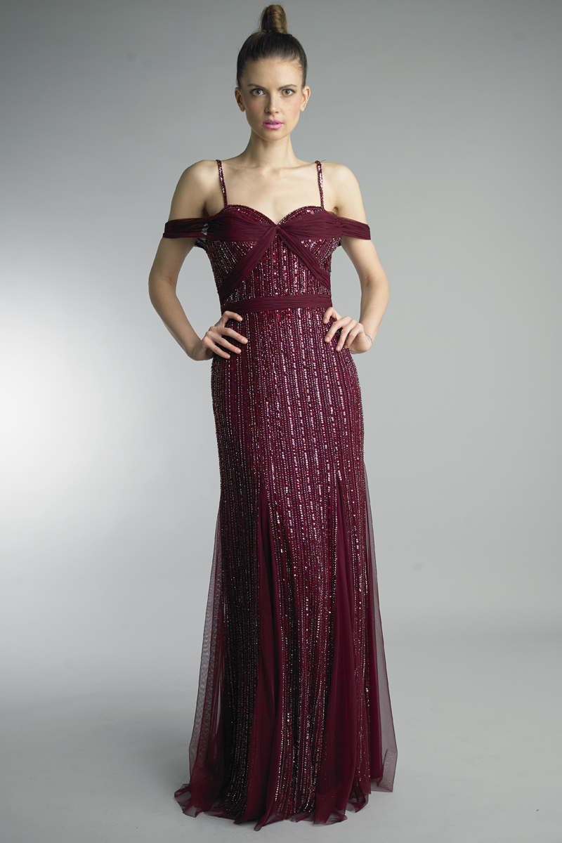 D8932L | Sequin Cold Shoulder Godet Column Gown |