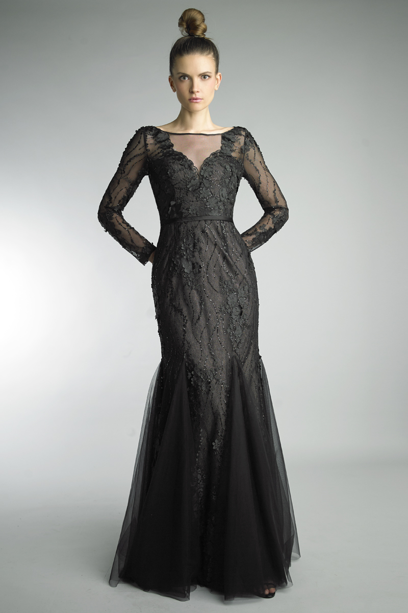 D8947L | basix black label long sleeve formal gown |