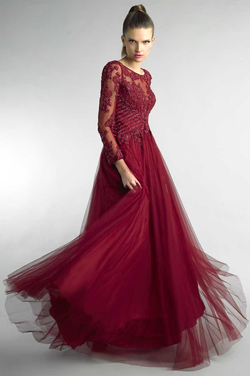 D8951L | Basix black label long sleeve evening gown |