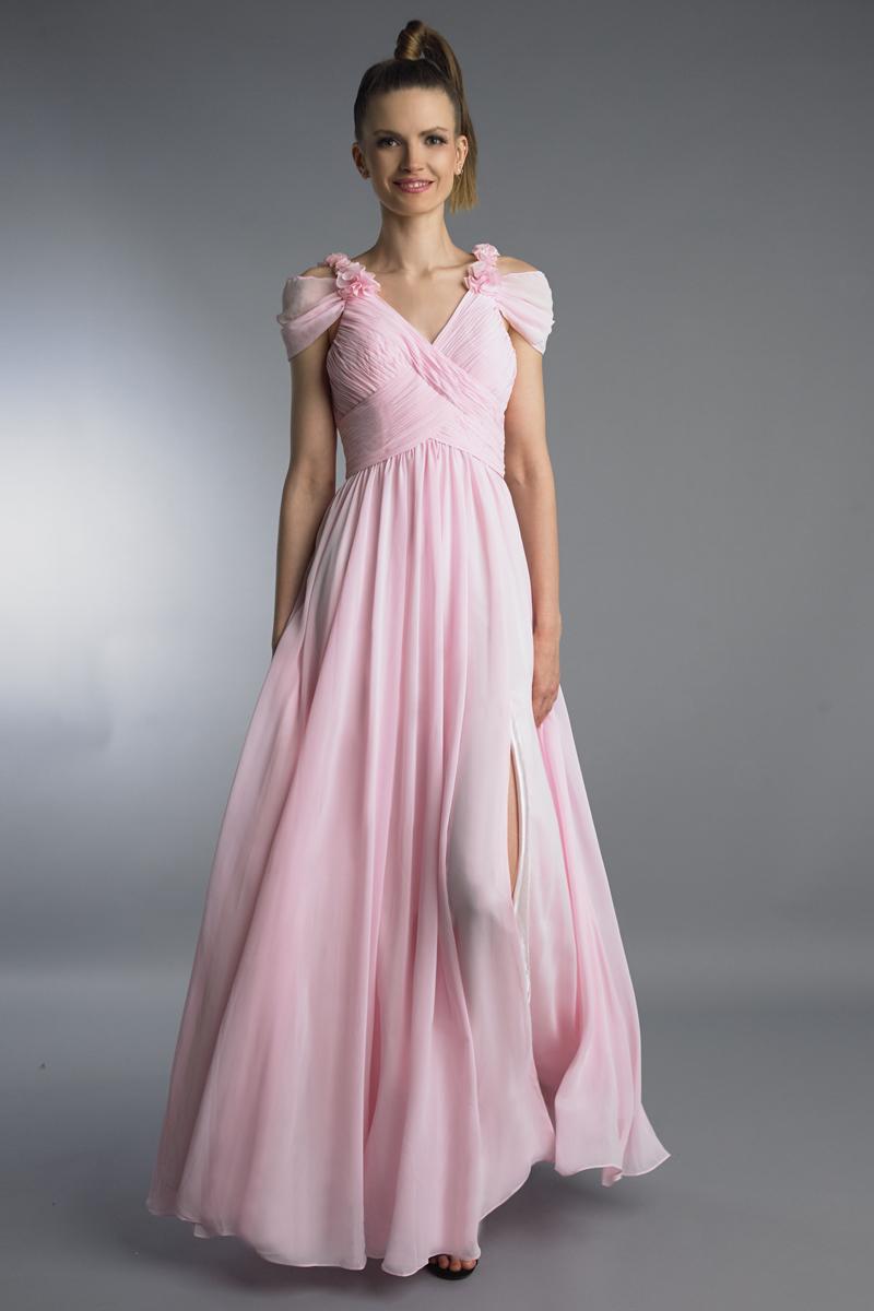 D8953L | Off shoulder multi pleated gown by basix black label |