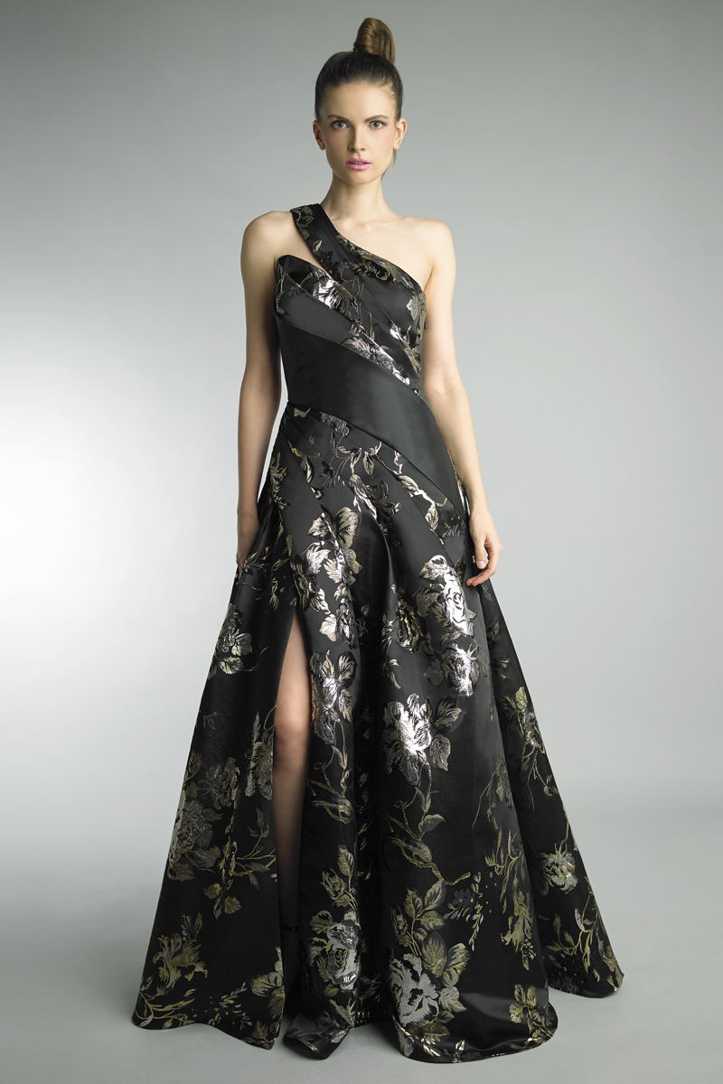 D8996L | Basix black label One Shoulder Floral Jacquard Satin A Line Gown |