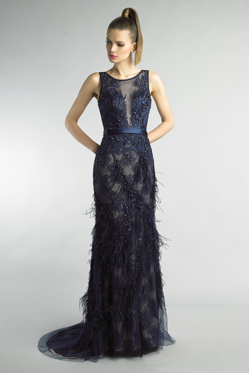 D9098L | Basix Black Label Feather Gown |