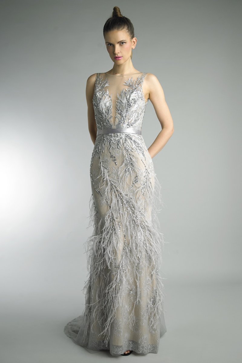 D9098L | Feather Gown |