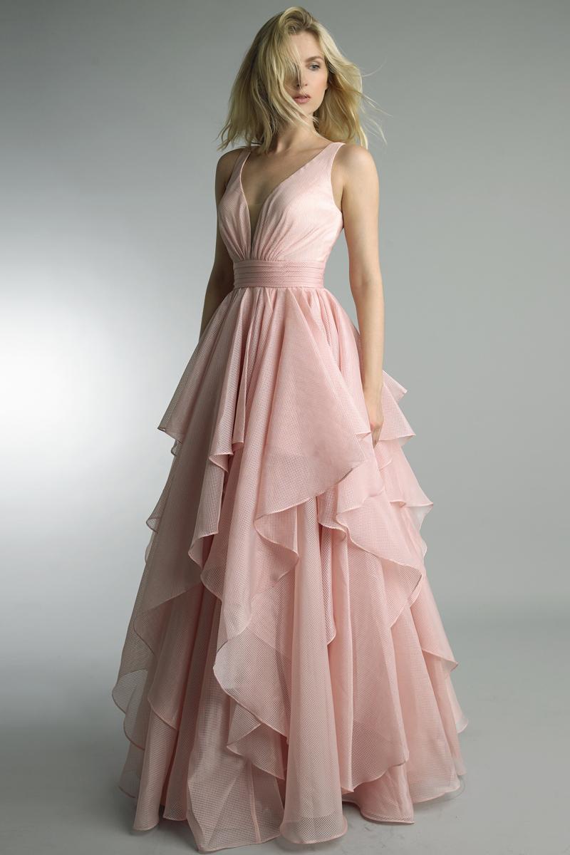 D9152L | Basix black label multi tier gown |