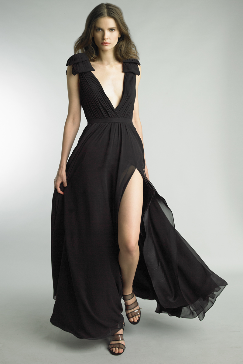 D9173L | Basix Black Label Pleated Deep V Gown |