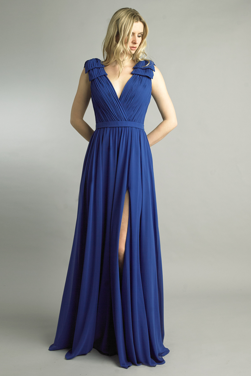 D9173L | Pleated Deep V Gown |