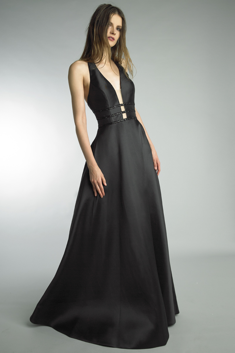 D9218L | Basix black label Halter Gown |